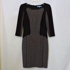 Antonio Melani Black and Tan Striped Career Dress
